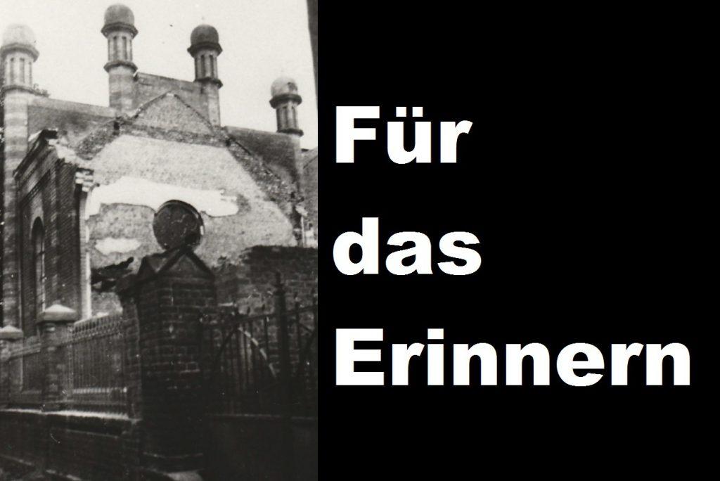 Für das Erinnern – Reichspogromnacht – 9.11.19 – 19:30 Uhr